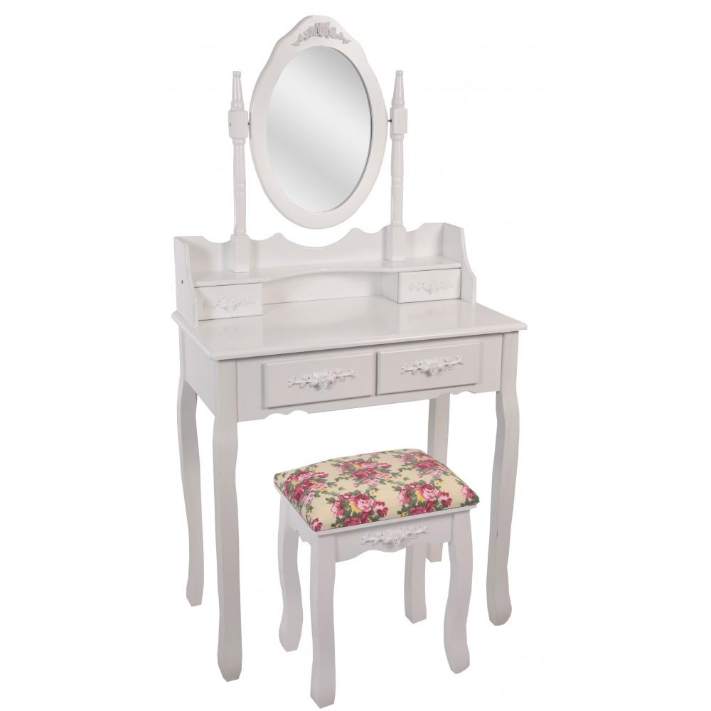 Косметический столик Bonro-В-011, красная табуретка
