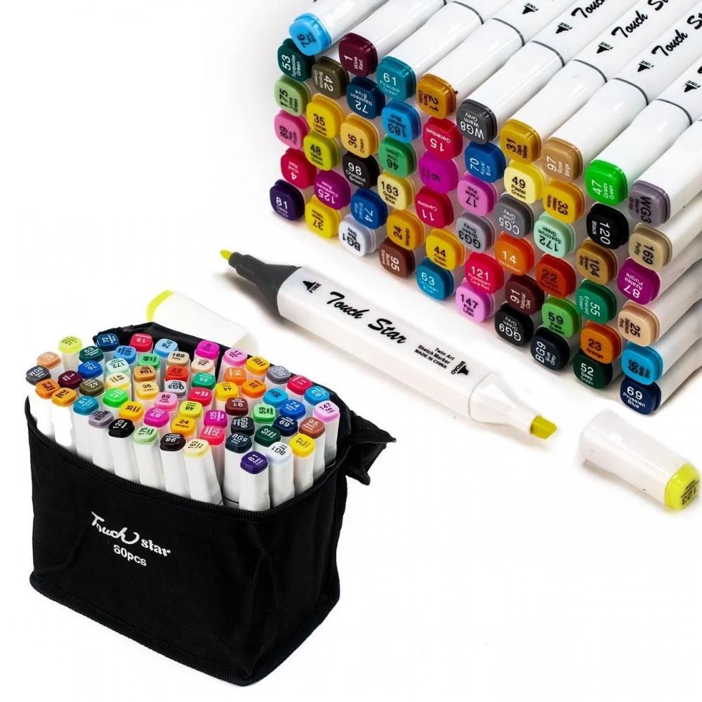 Набор маркеров Touch для рисования и скетчинга на спиртовой основе 60 шт Touch Raven, белый