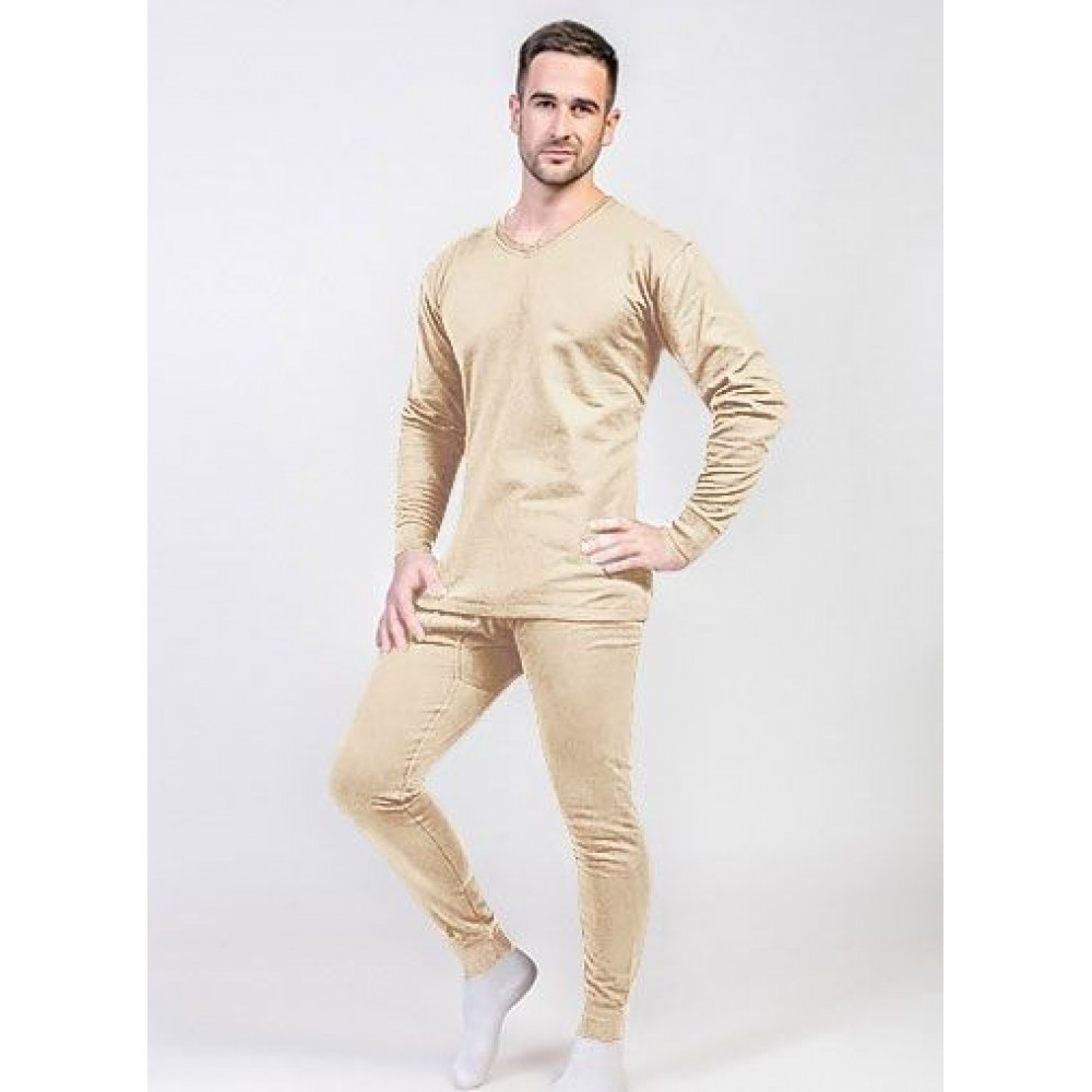Тёплое нательное мужское бельё, Узбекистан,100 % хлопок  beige