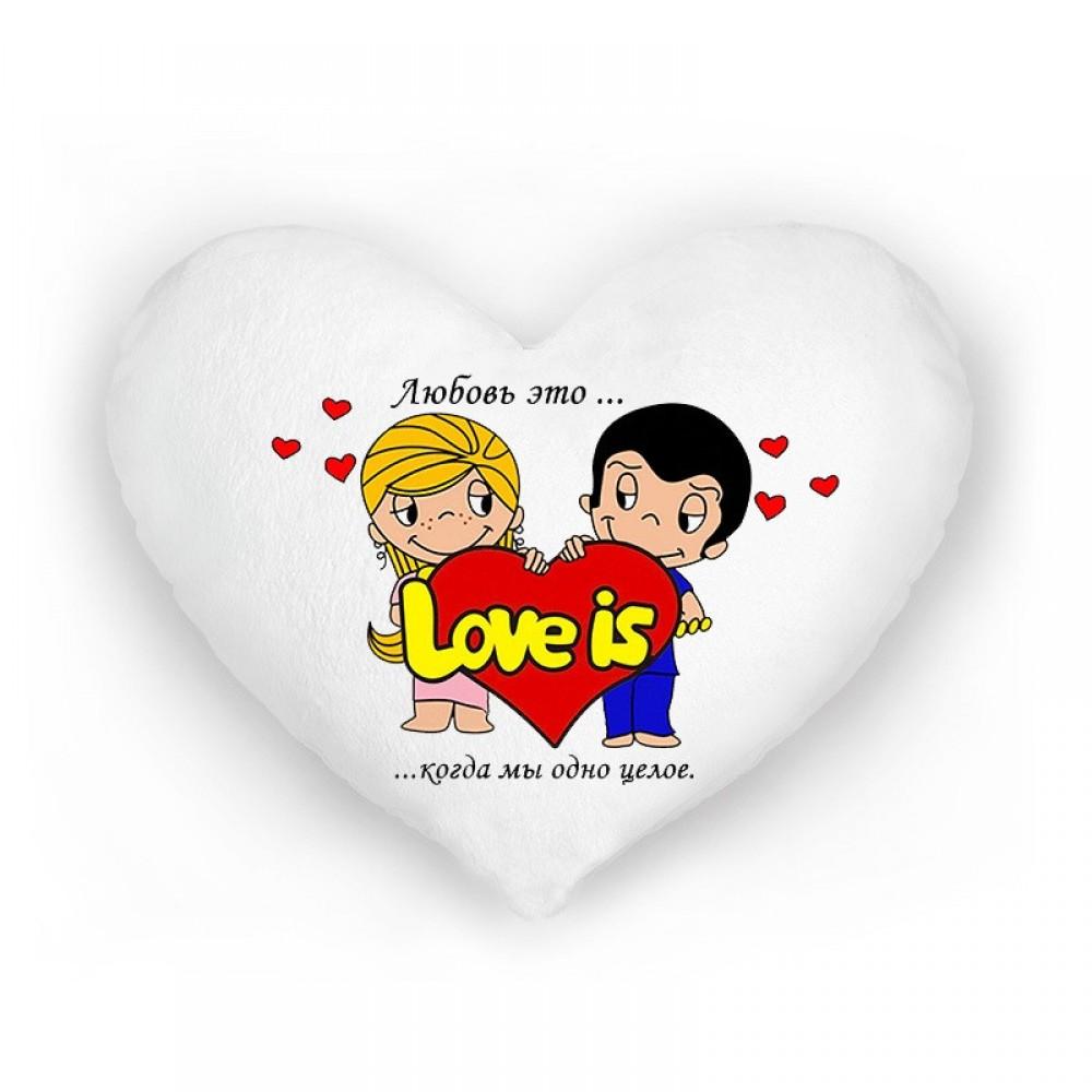 """Подушка ночник Love is """"Когда мы одно целое"""""""