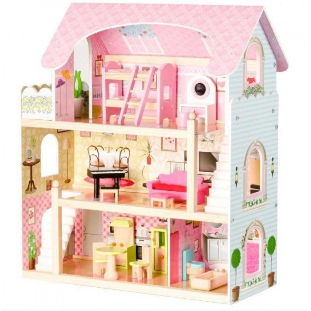 Кукольный домик игровой Ecotoys 4110 Fairy + 4 куклы