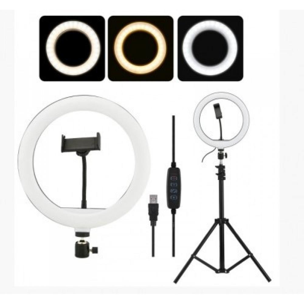 Кольцевая LED лампа CXB-260 диаметром 26 см с пультом Black 5743
