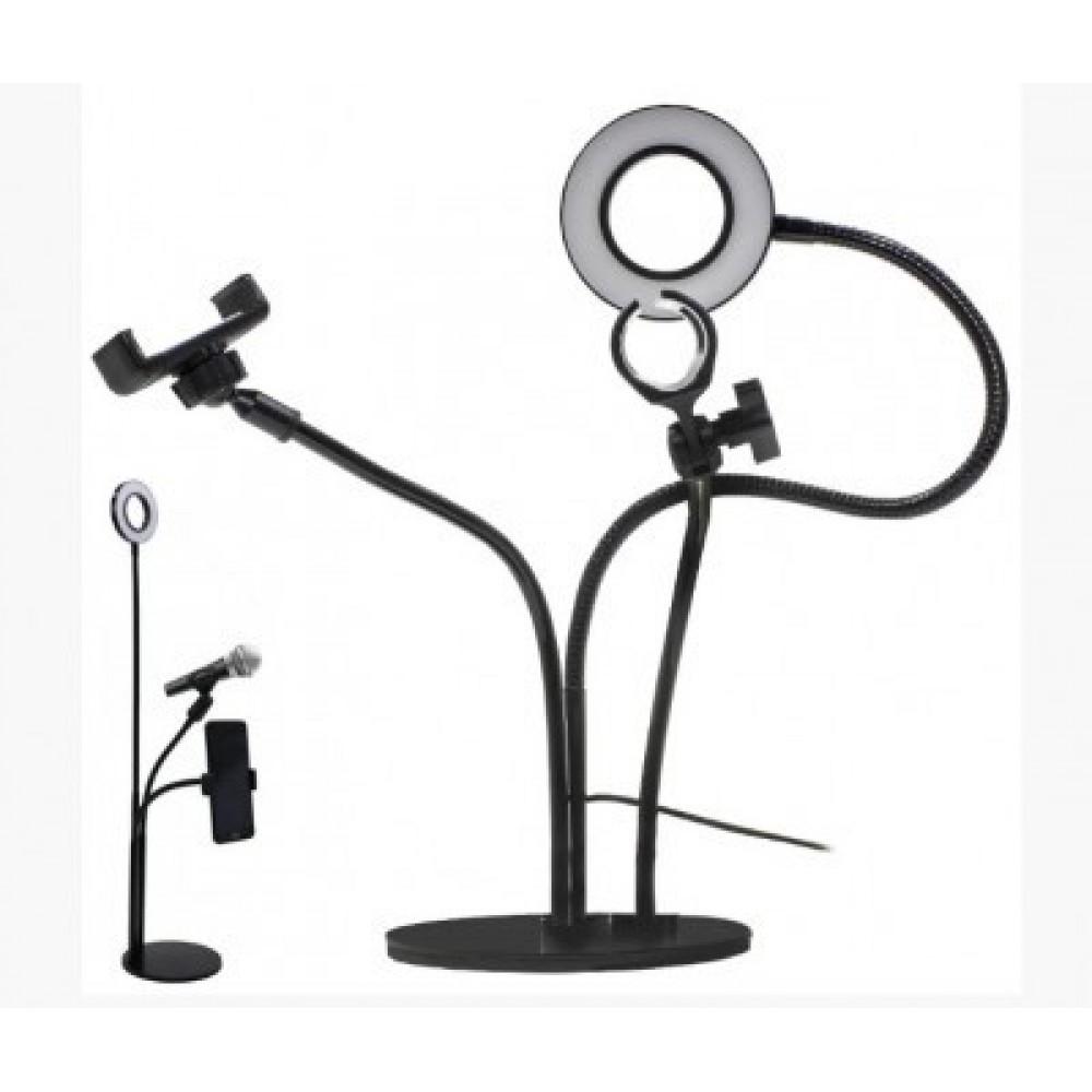 Набор для блогера 3 в 1 Держатель для телефона, LED подсветка, держатель микрофона Black 90781