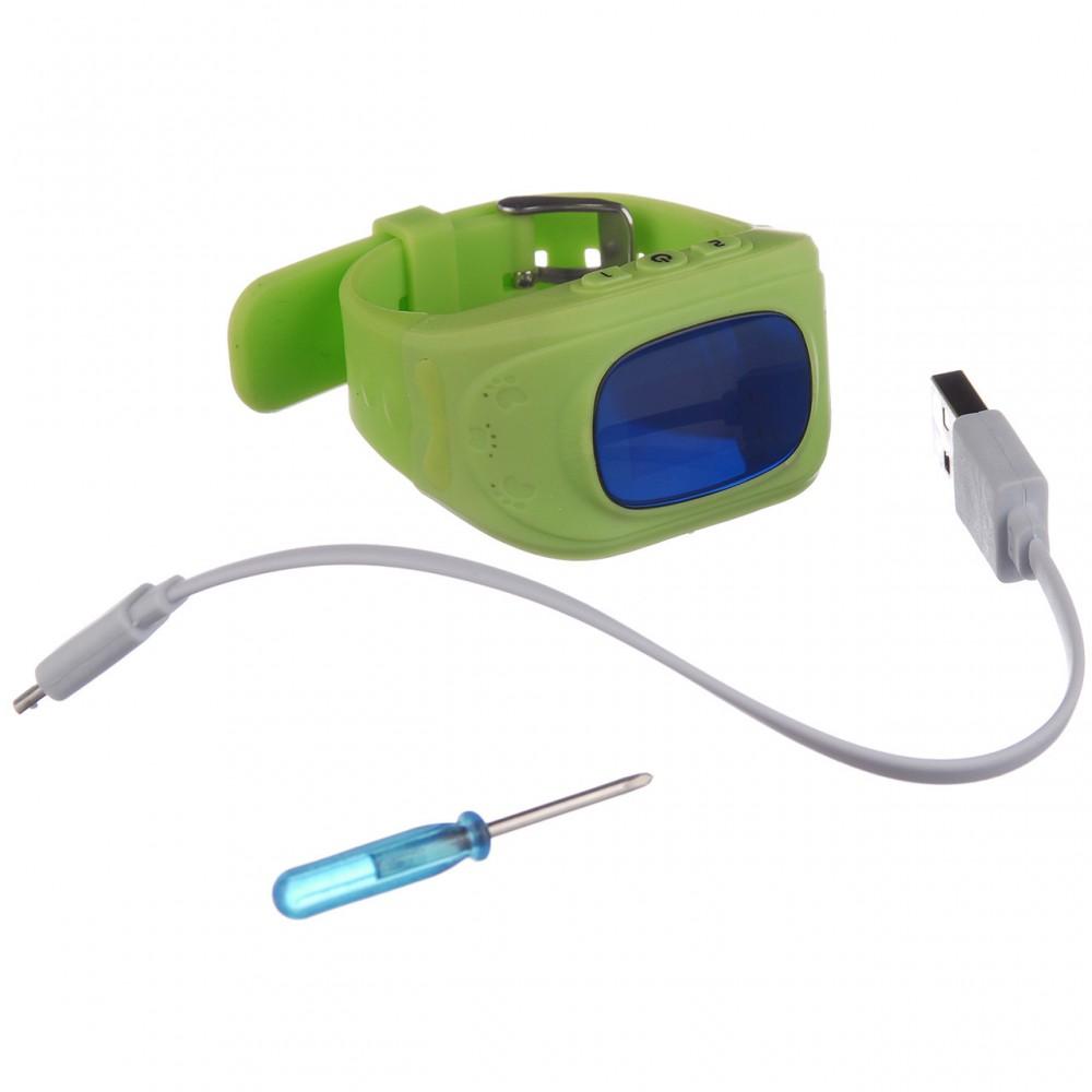 Детские часы-телефон с GPS трекером Q50 Зеленые