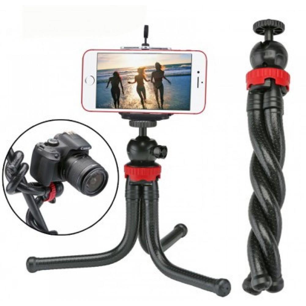 Гибкий штатив тринога трипод для телефона и фотоаппарата паук черно-красный