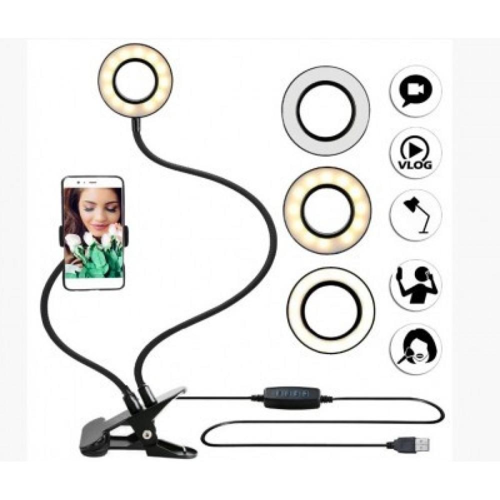 Держатель для телефона с LED подсветкой на прищепке для прямых трансляций селфи кольцо Black 5504