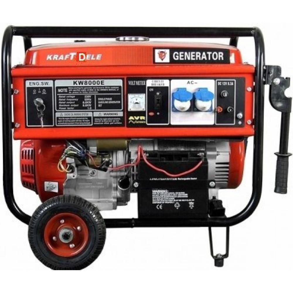 Генератор KraftDele OHV 8800 8,8 кВт AVR 1 фазный электростартер