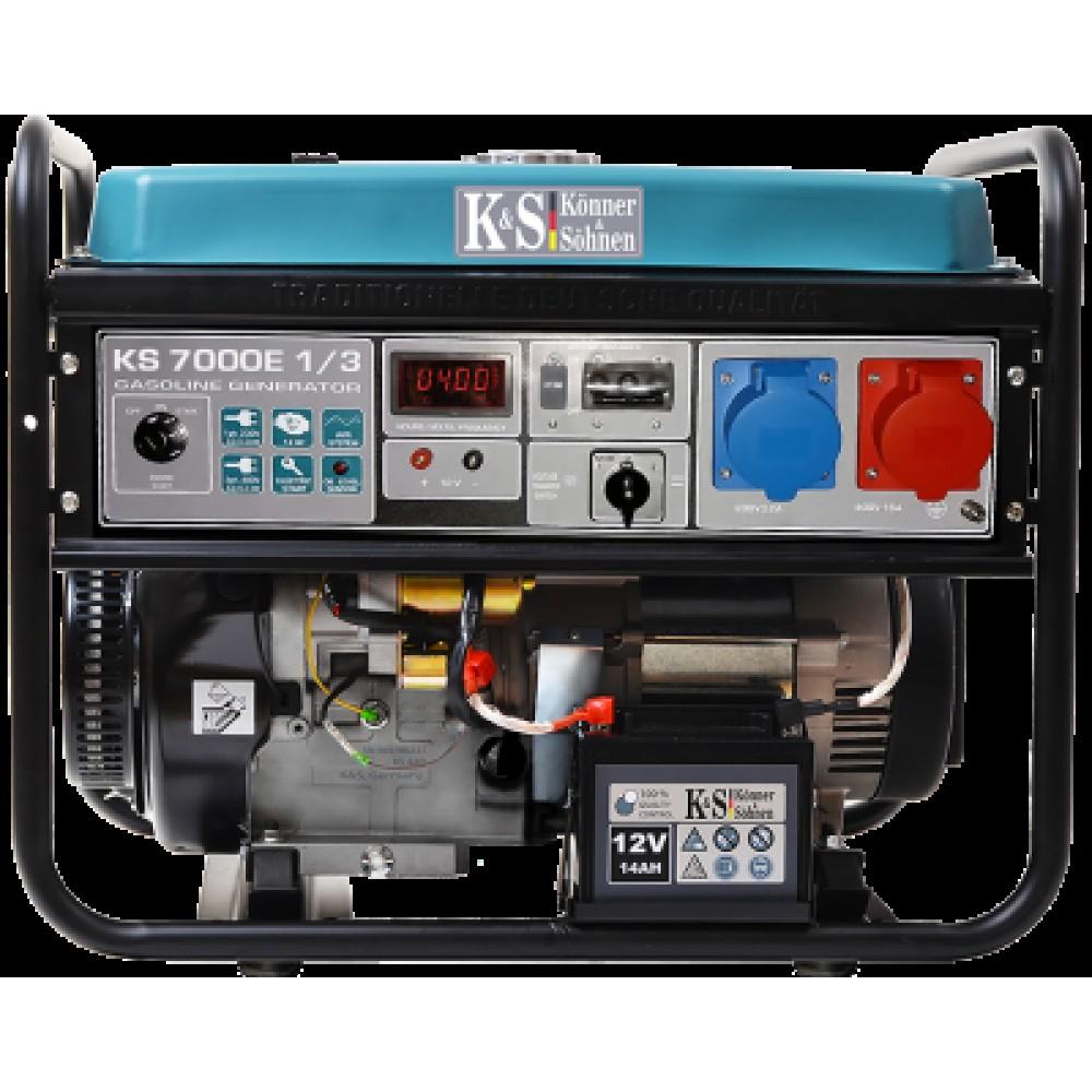 Генератор бензиновый Konner&Sohnen KS 7000E 1/3 5.5кВт одно/трехфазный Германия