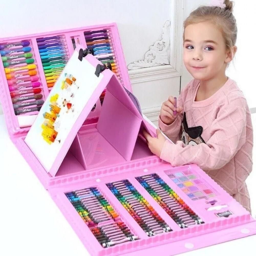 Набор для рисования в чемодане с мольбертом 208 предметов, розовый