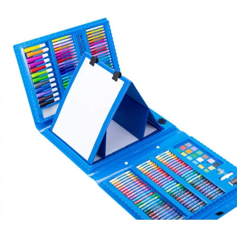 Набор для рисования в чемодане с мольбертом 208 предметов, голубой