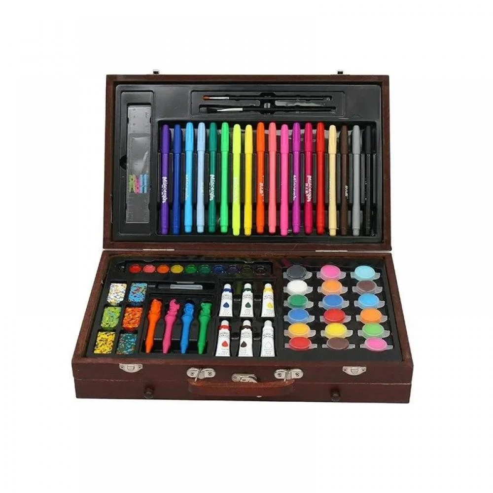 Набор для рисования 123 предмета в деревянном чемодане детский Mega Art Set