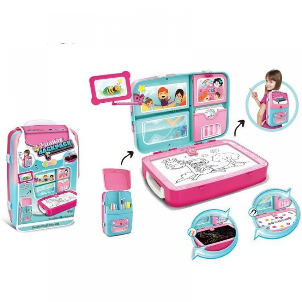 Обучающий набор для рисования Backpack packing 3in1 розовый.