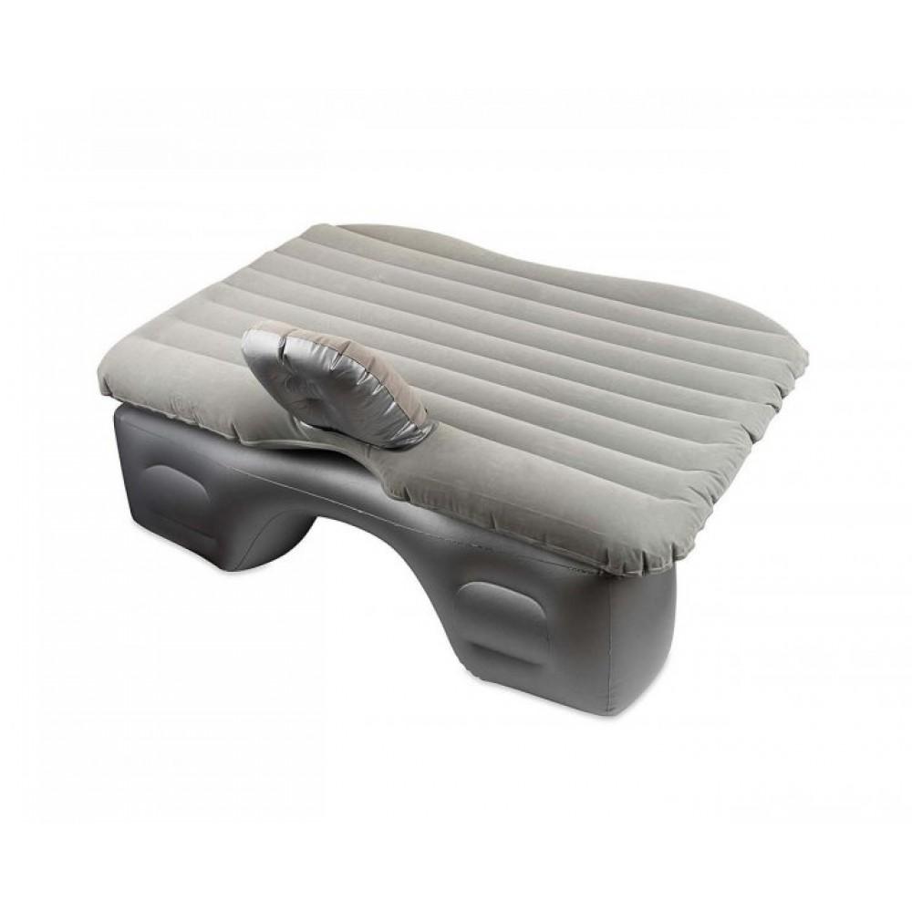 Надувной матрас в машину на заднее сиденье с насосом с отдельной тумбой, серый