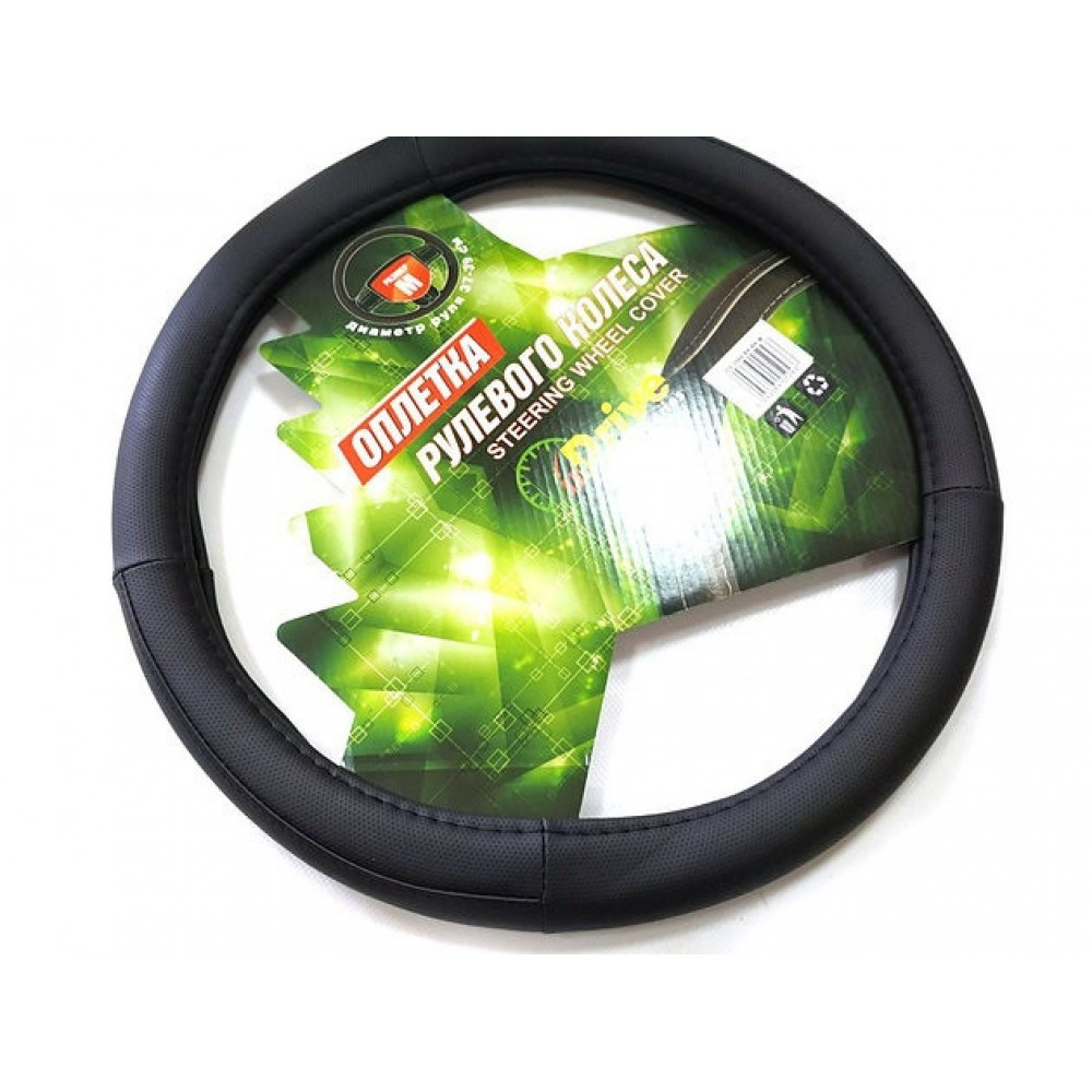 Чехол на руль авто inDrive 35-37 см 3988-BK BK-S софт - тач, черный