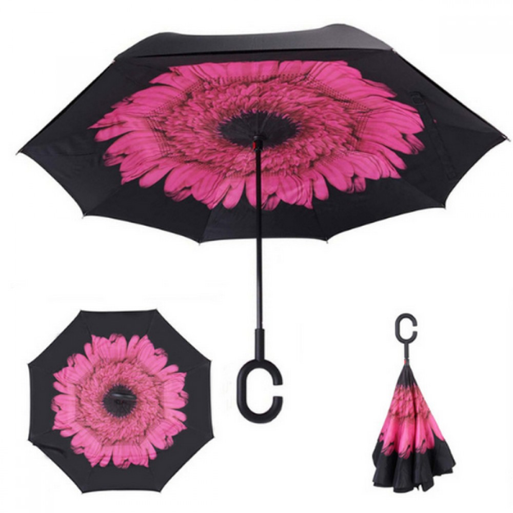 Зонтик автомат, Up brella, розовый цветок