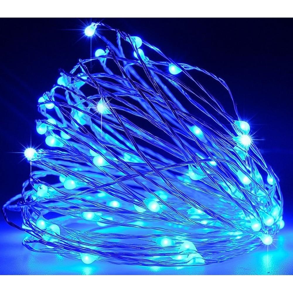 Гирлянда медная проволока 100 Led RD-7107, 10 метров, синяя