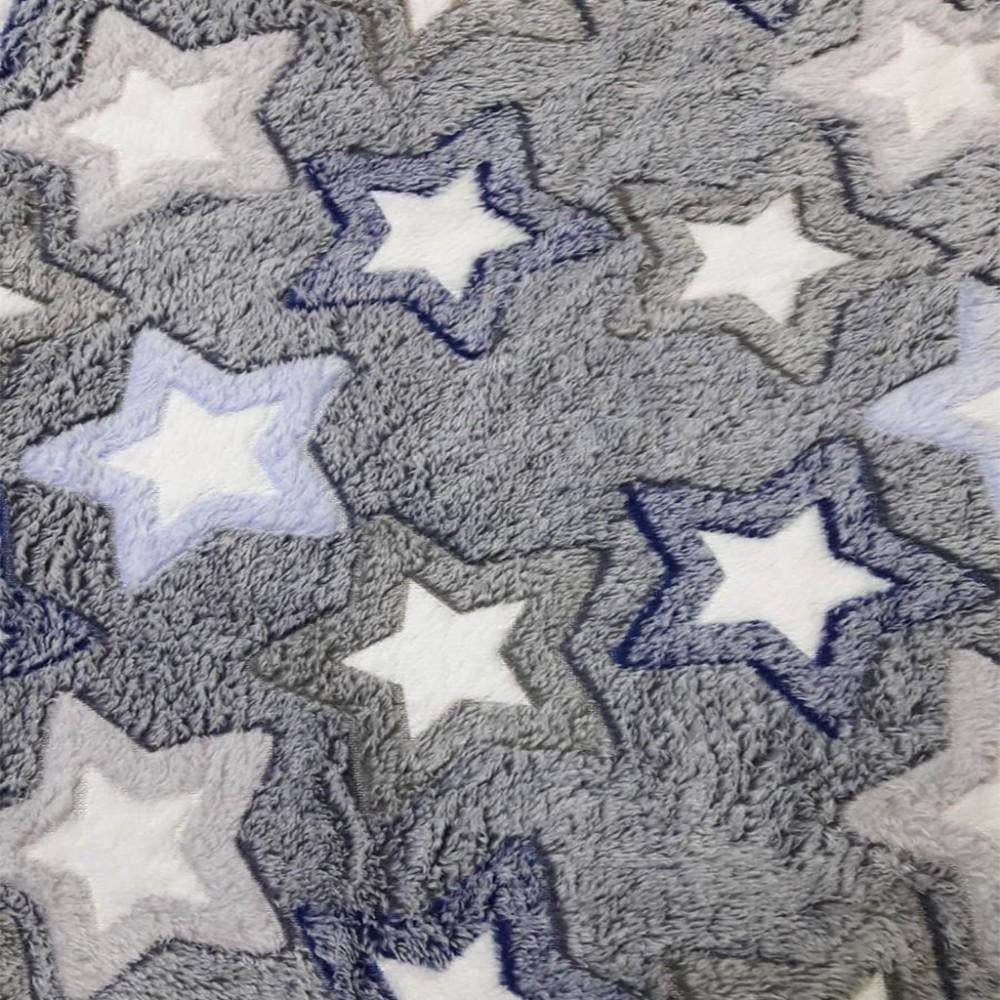 Плед двуспальный стрижка Koloco 180 х 220, 33410, светло-серый звезды