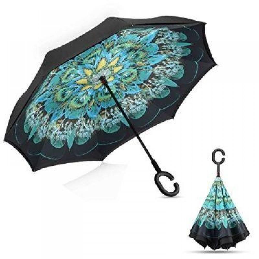 Зонт обратного сложения Up-Brella Зелёный Павлин