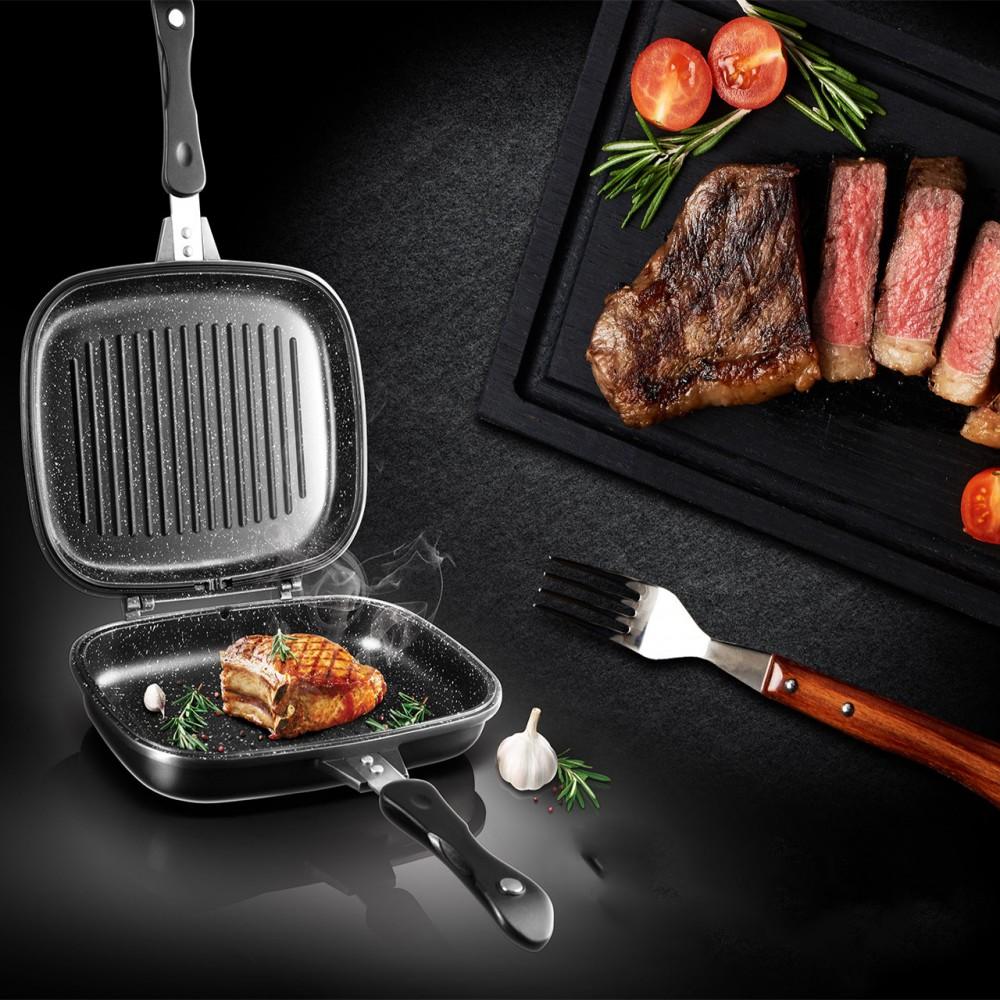 Сковорода двухсторонняя для гриля и жарки A-Plus 30 см, 1500