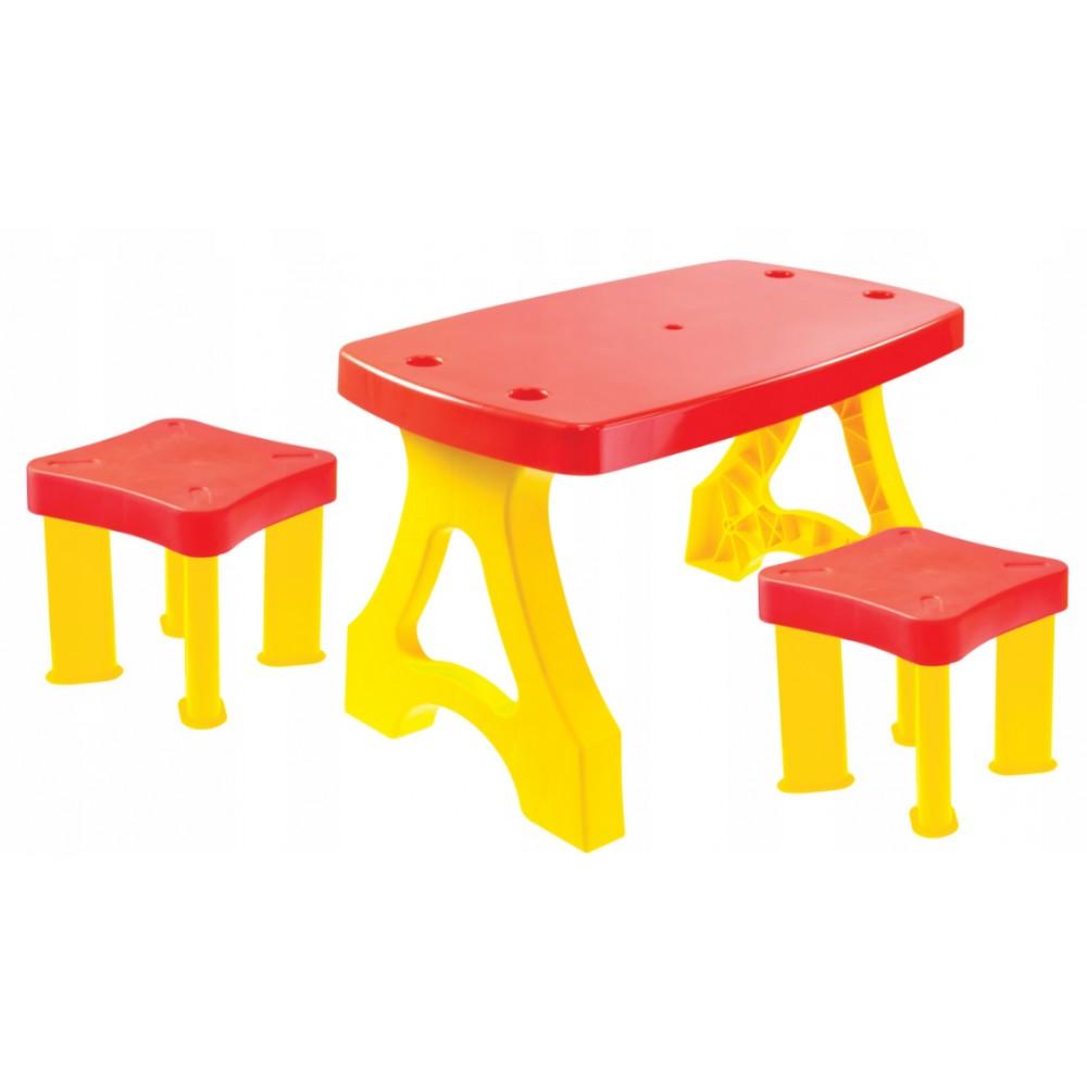 Детский пластиковый столик для пикника + 2 табуретки Mochtoys, 11852