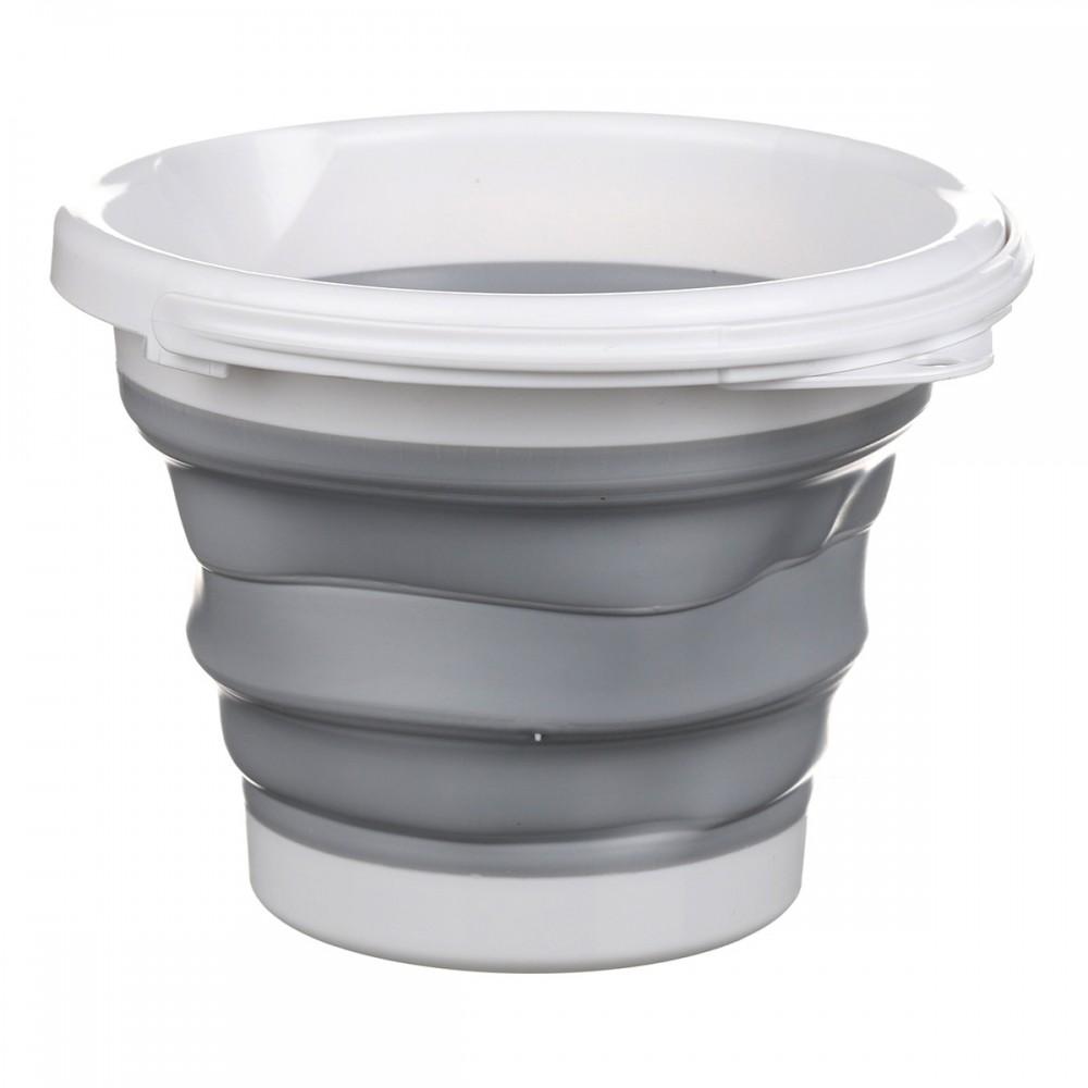 Ведро складное Silicon Bucket 3 литра, MH-3828S, серое