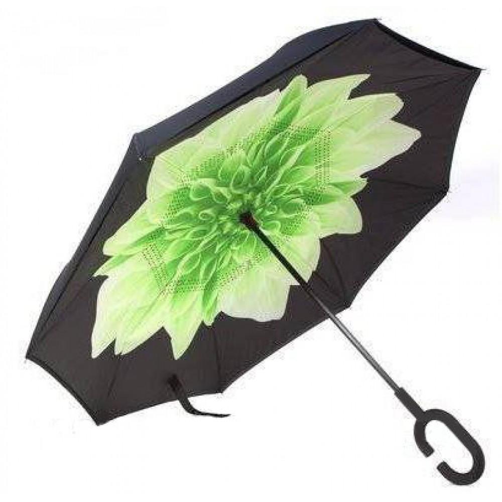 Зонтик автомат, Up brella, зеленый цветок