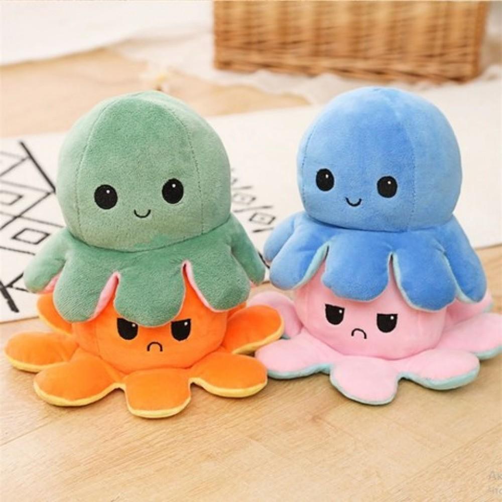 Мягкая игрушка осьминожка перевертыш с улыбкой, двухцветный показатель настроения