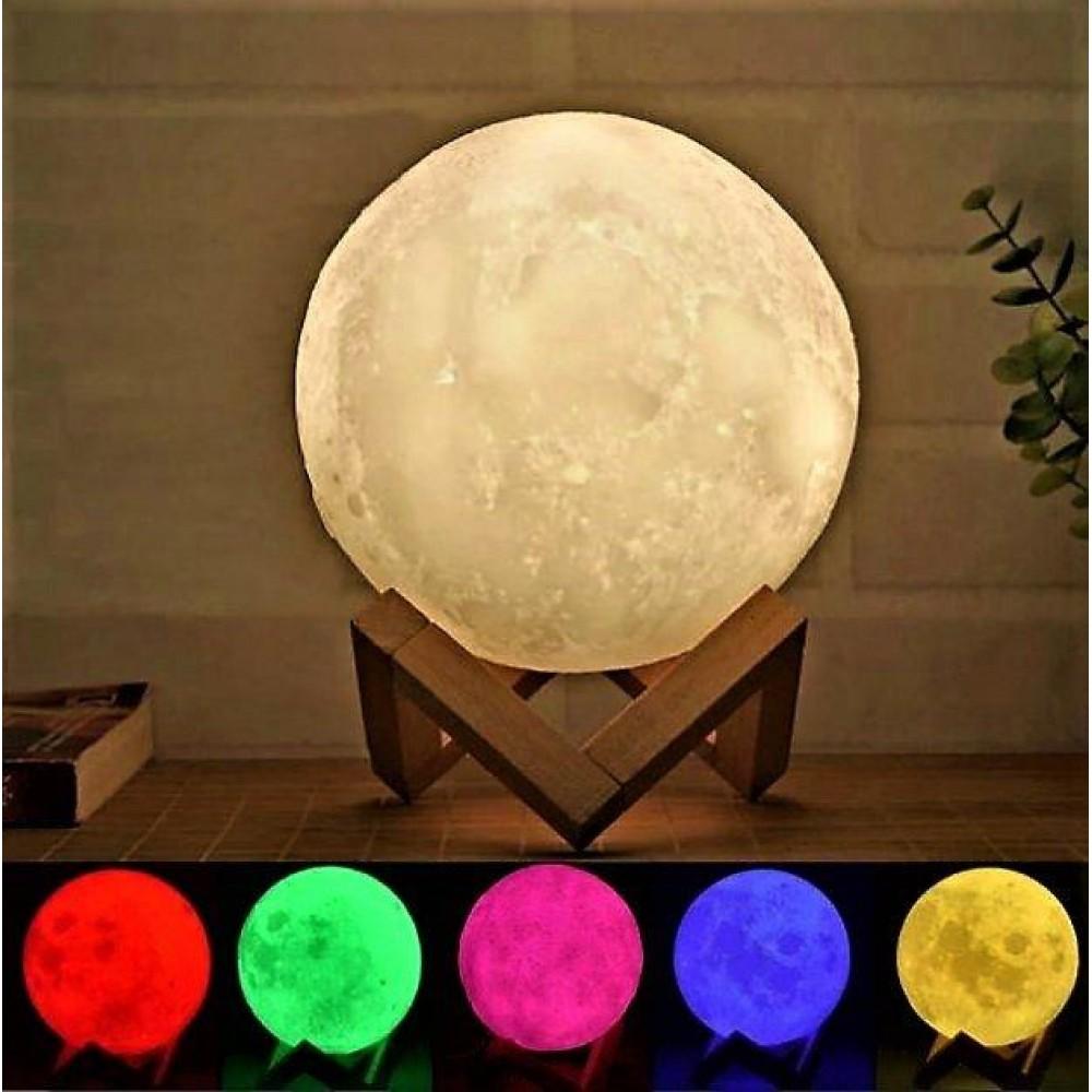 Настольный светильник 3D Moon Lamp Луна заряд от USB на деревянной ножке