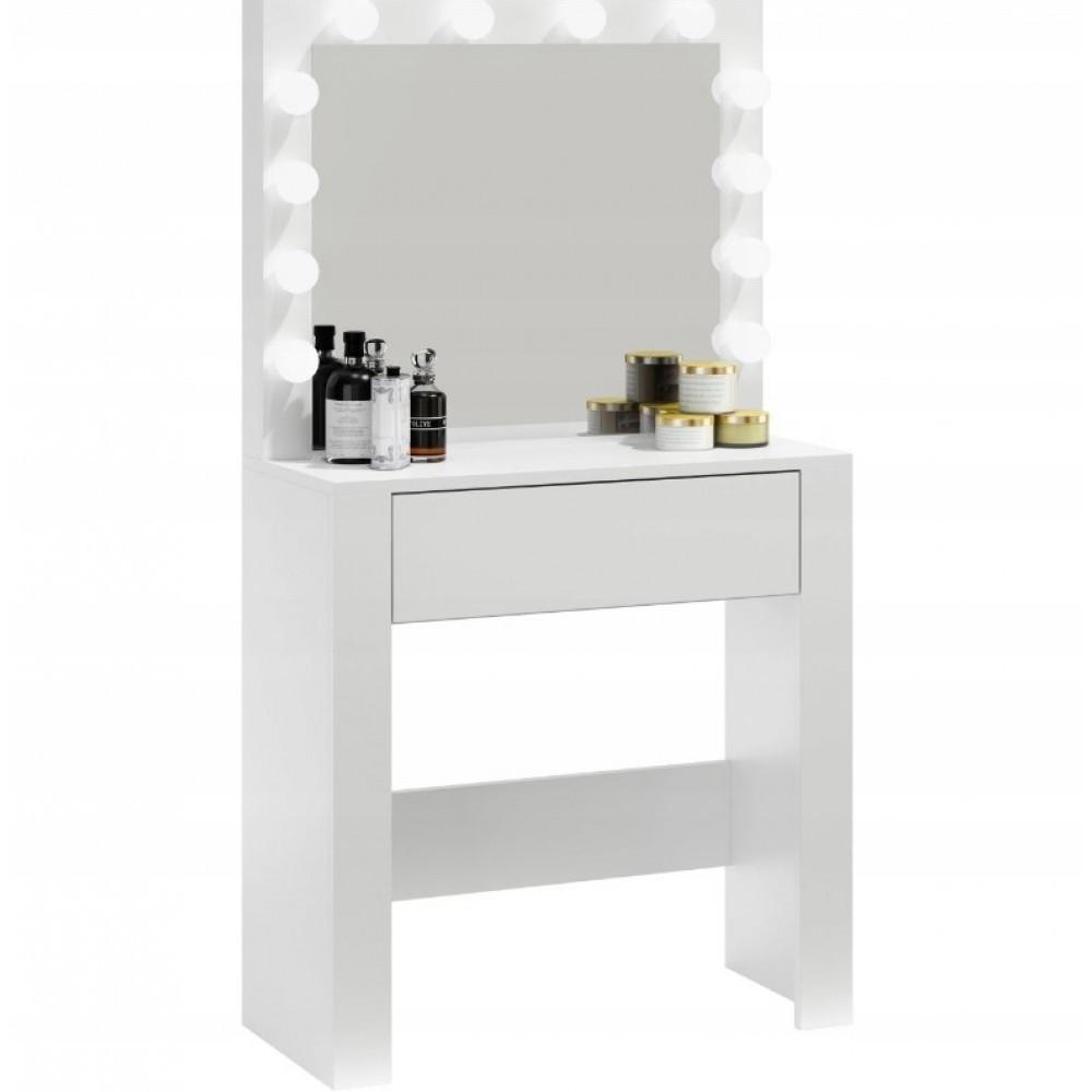 Столик косметический Bonro- B070 белый с LED подсветкой