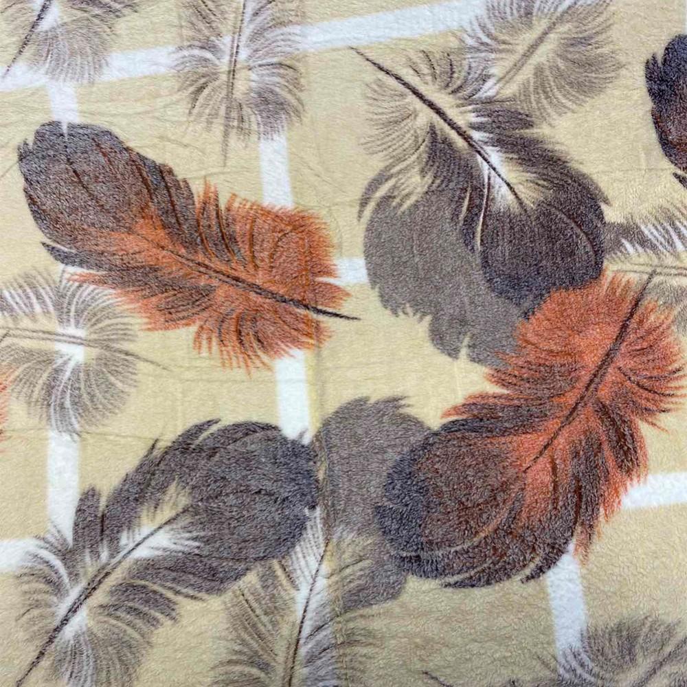 Плед двуспальный стрижка Koloco 180 х 220, 33412, оранжевые перья