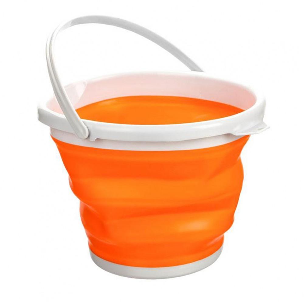 Ведро складное Silicon Bucket 10 литров, оранжевое