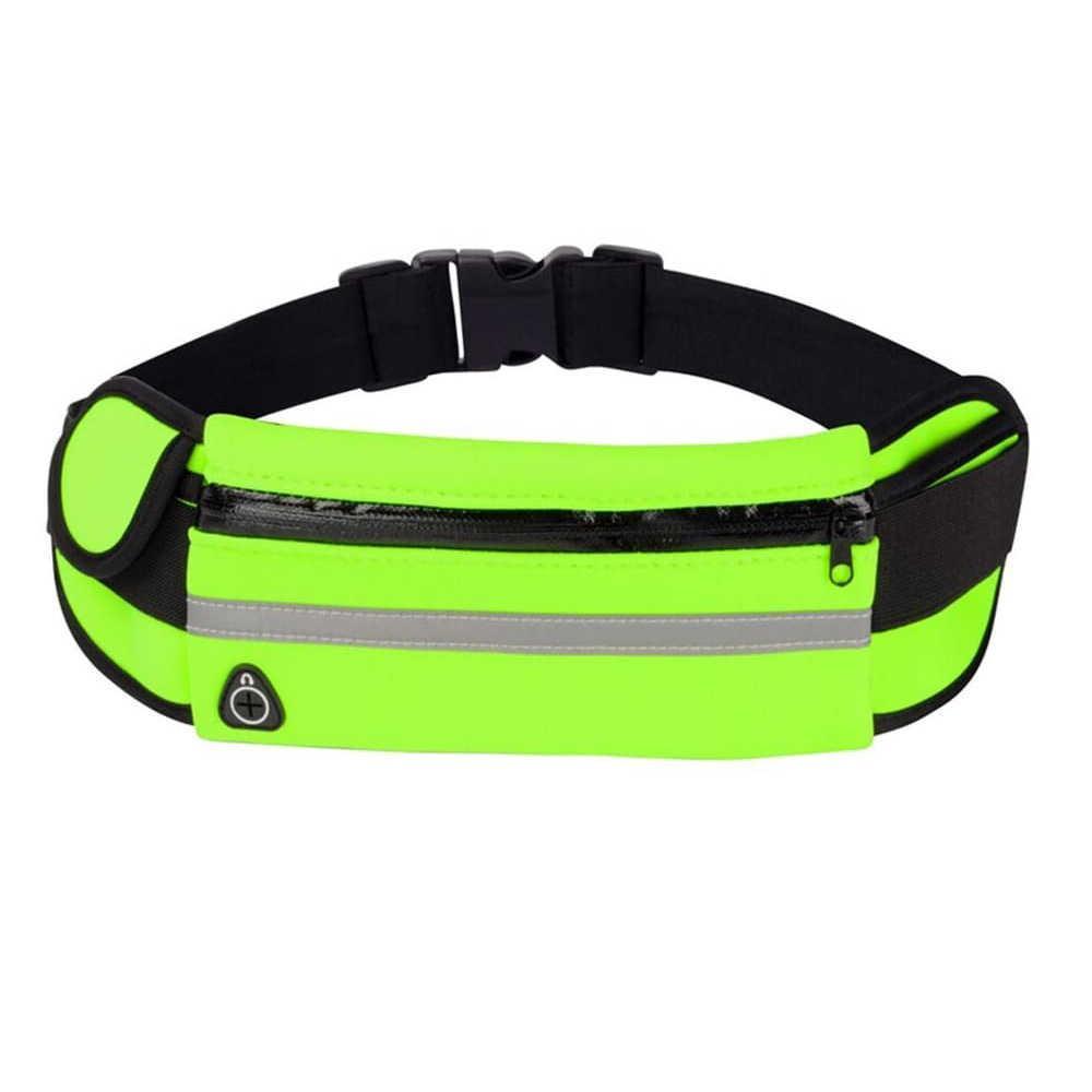 Спортивная сумка на пояс RunningBag для бега с карманом для бутылки Green