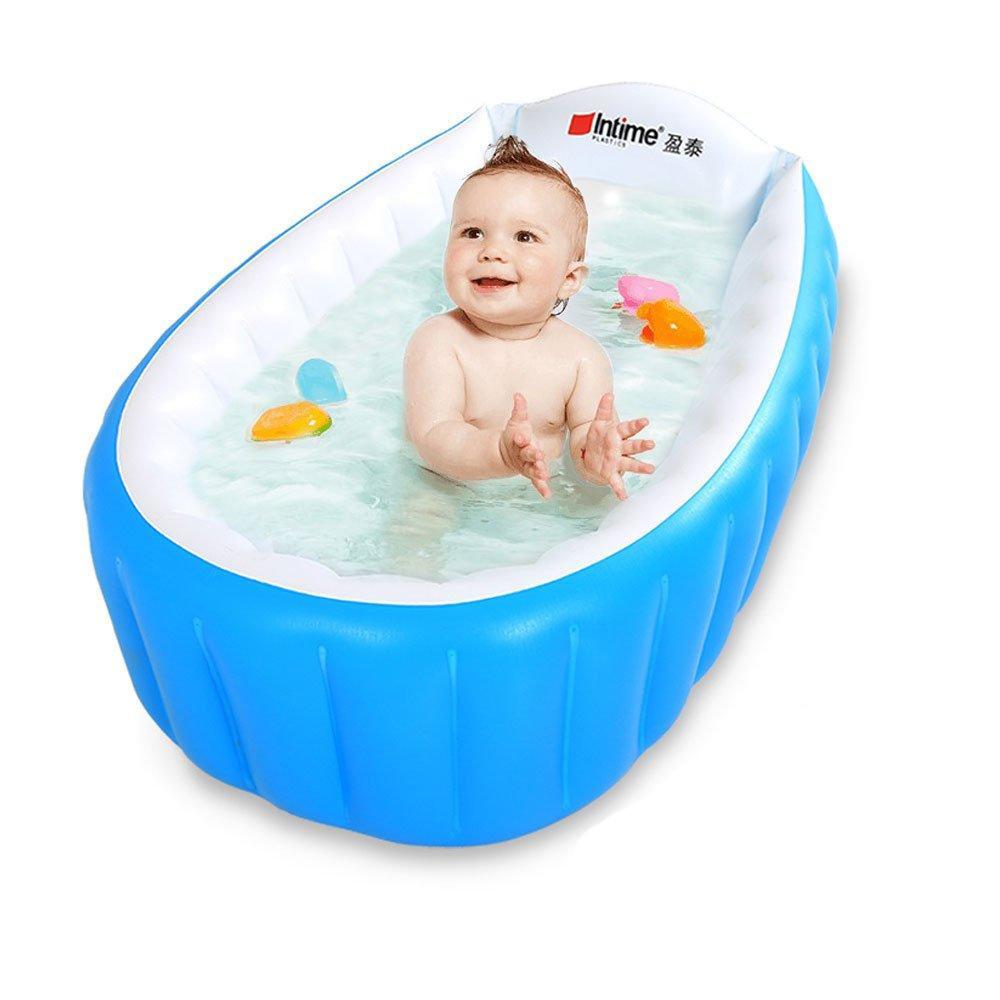 Детская надувная ванночка Intime Baby Bath Tub с насосом голубая