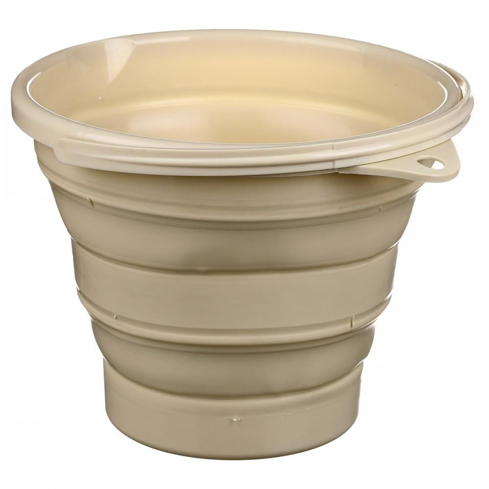 Ведро складное Silicon Bucket 10 литров, бежевое