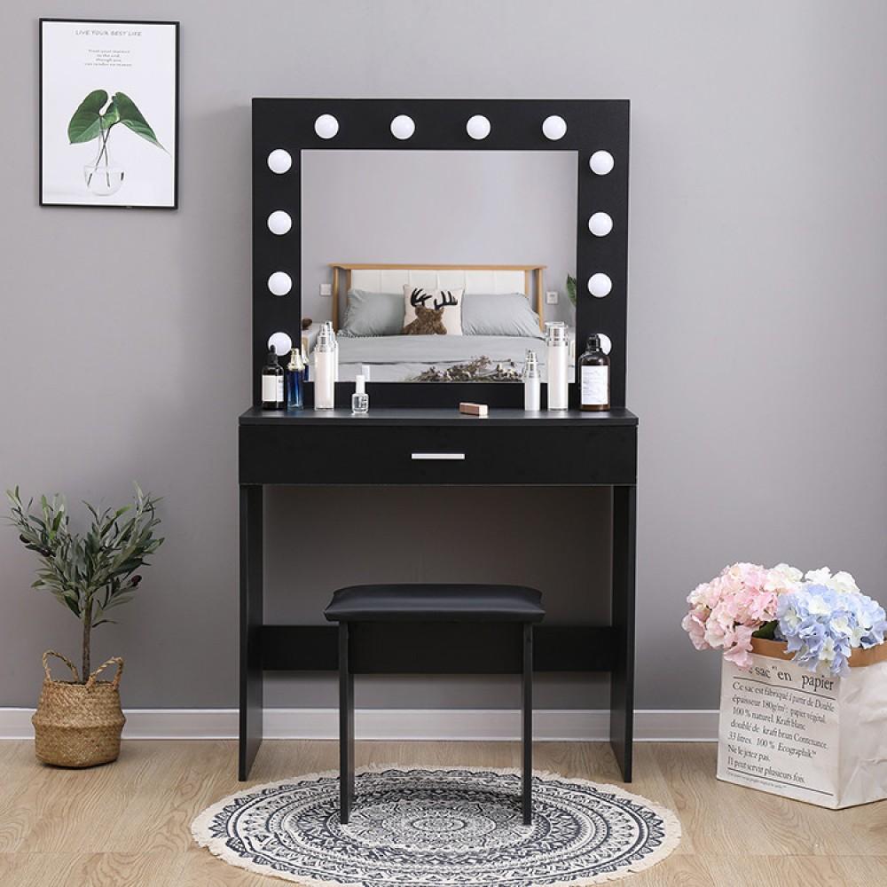 Туалетный столик + табурет Avko ADT 001 Black, Led подсветка