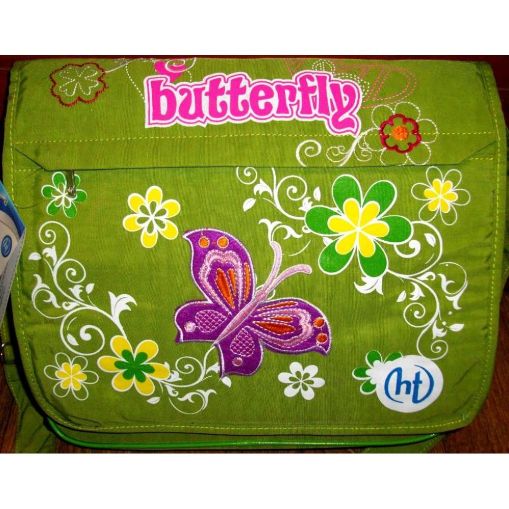"Школьная сумка ""Бабочки"" зеленая"
