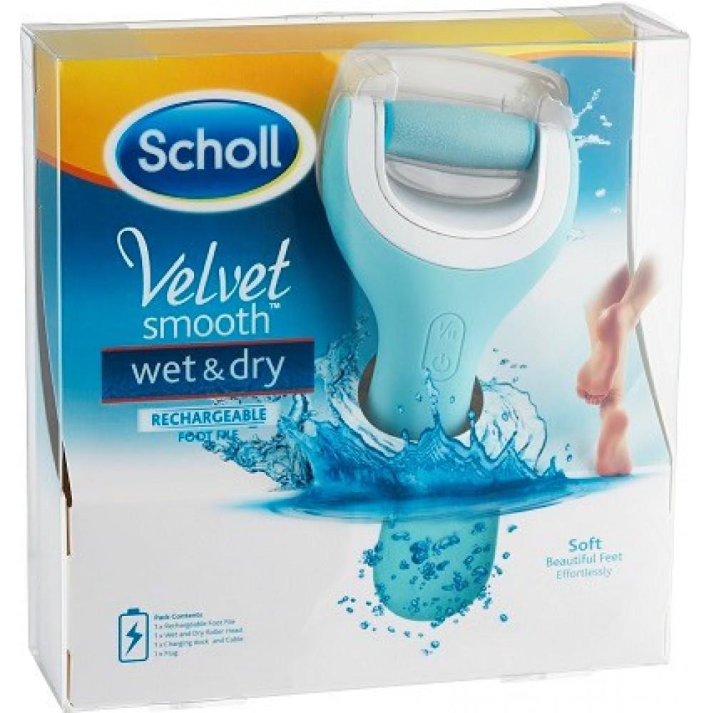 Пилка для стоп Scholl Scholl Velvet Smooth Wet & Dry роликовая пилка с аккумулятором для влажных ног