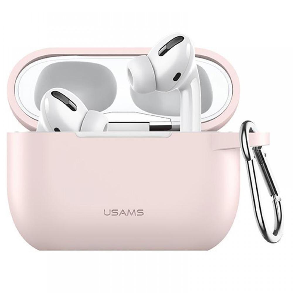 Чехол для Apple Airpods Pro с карабином Usams US-BH568 Silicone Protective Cover Pink