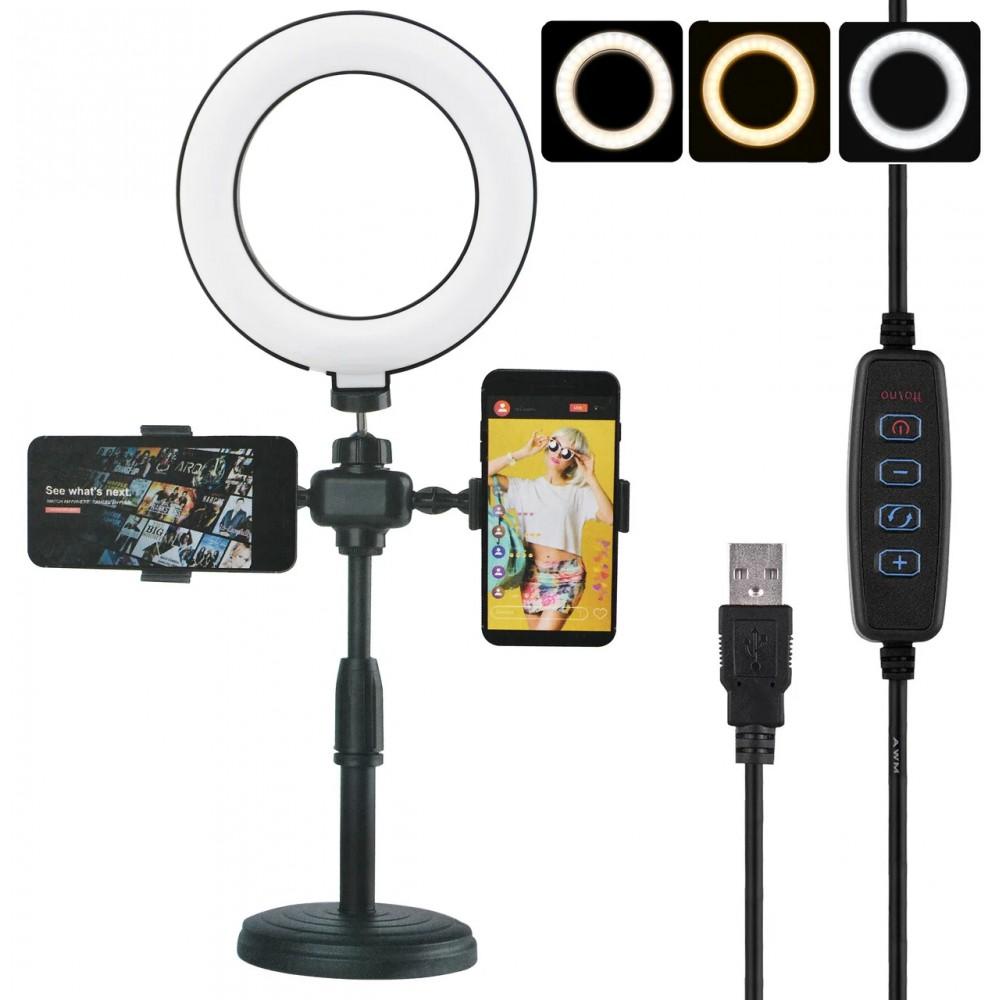 Кольцевая LED лампа диаметром 16 см Phone Live Fill Light со стойкой и с пультом 14676