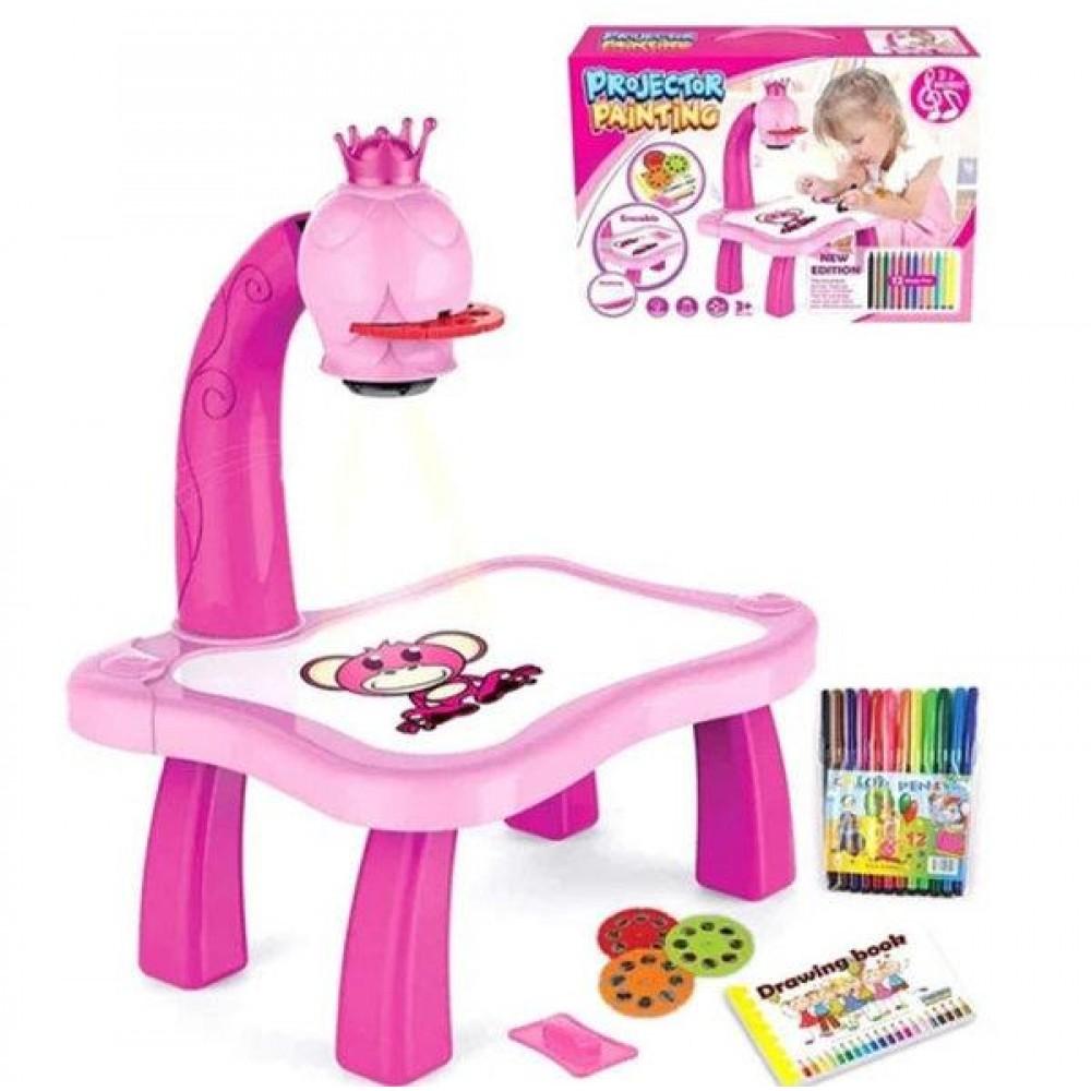 Детский стол проектор для рисования с подсветкой, розовый