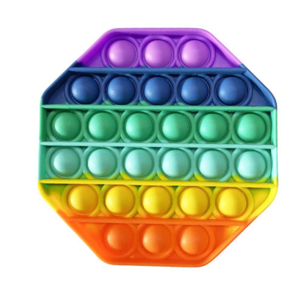 Антистресс сенсорная игрушка Pop It радужный восьмиугольник