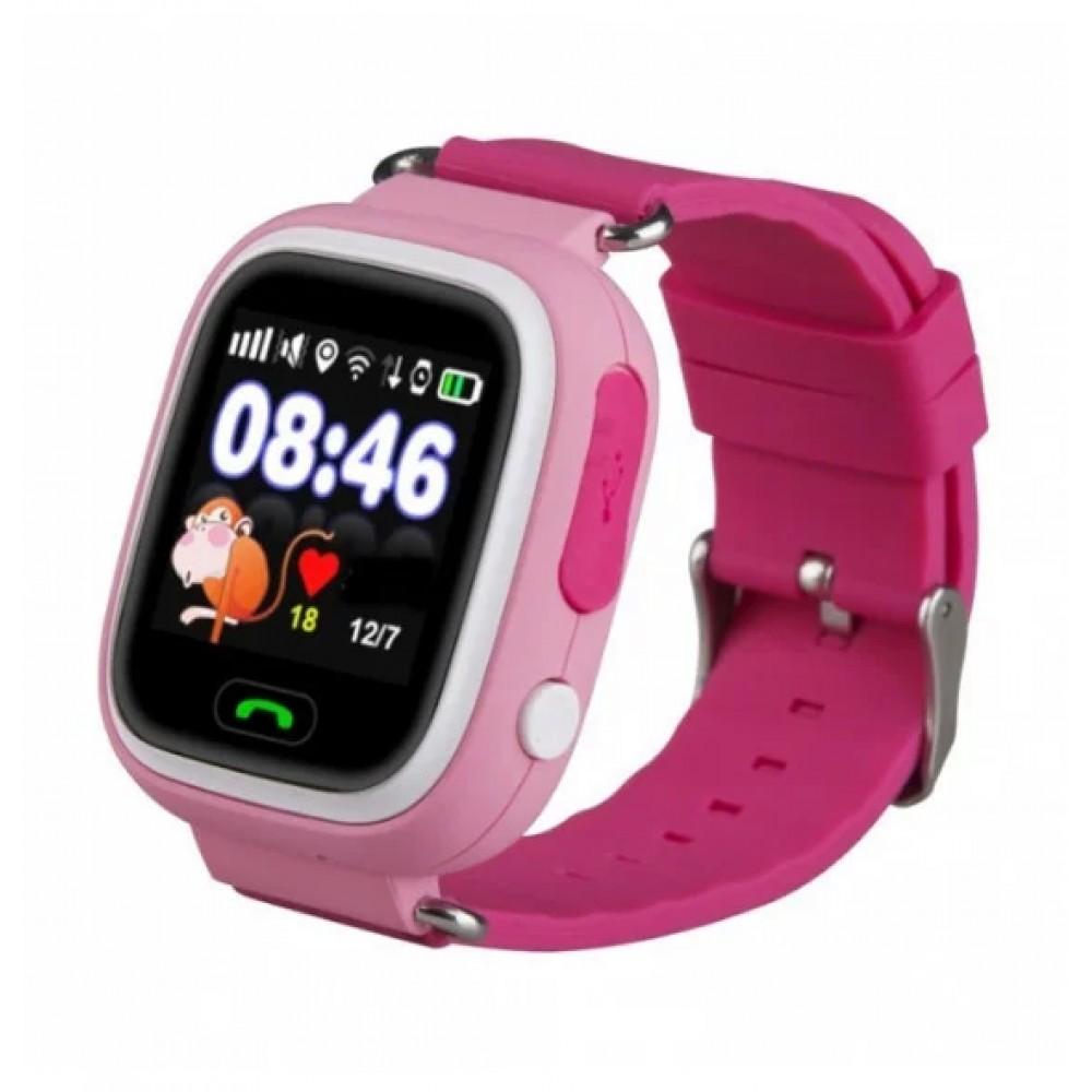 Умные детские часы Smart Baby Watch Q90 с GPS трекером, розовые