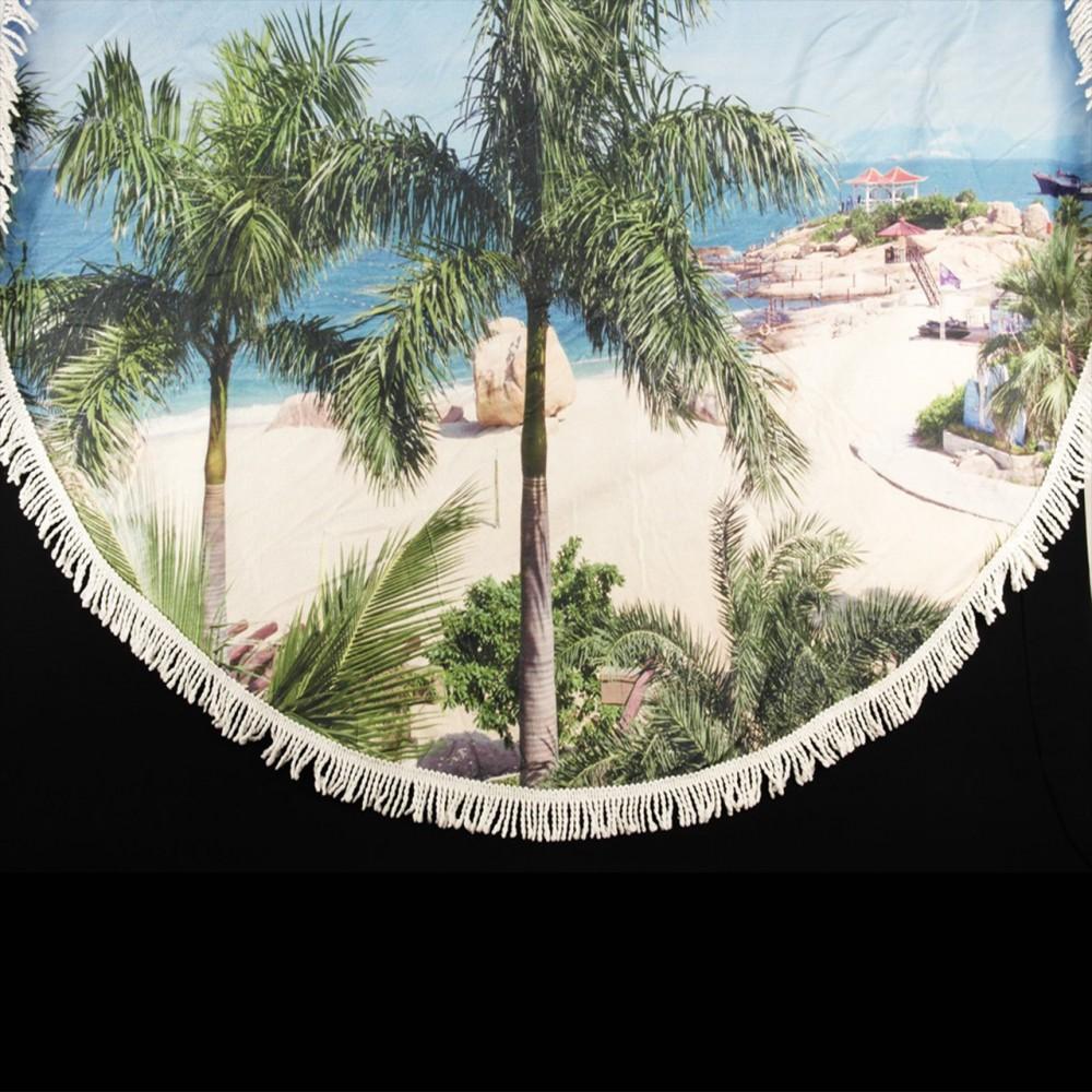 Полотенце пляжное мандала Styleberg 150 см, пальмы