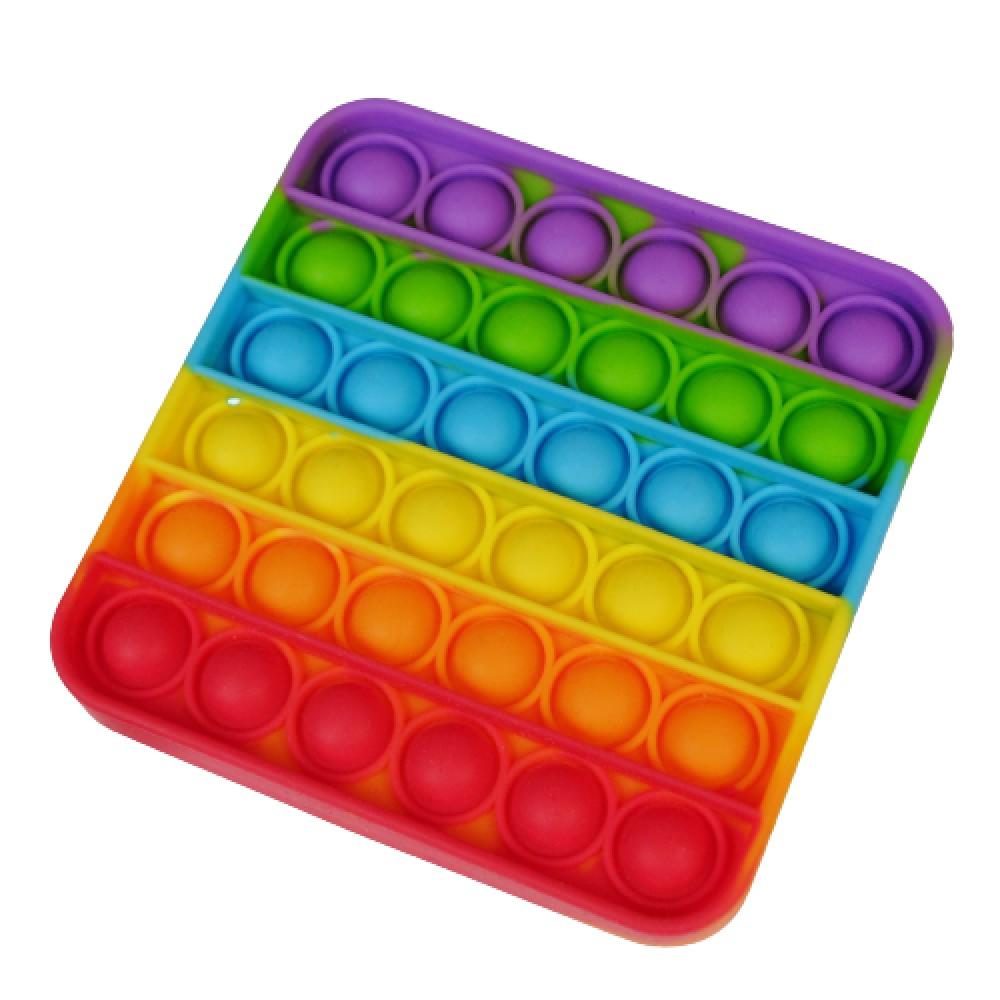 Антистресс сенсорная игрушка Pop It радужный квадрат