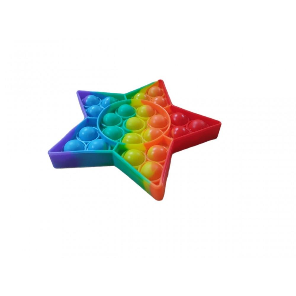 Антистресс сенсорная игрушка Pop It радужная звезда
