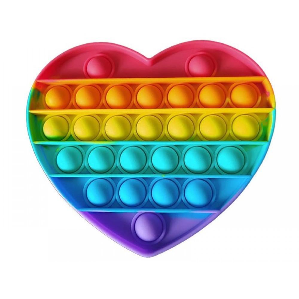Антистресс сенсорная игрушка Pop It радужное сердце