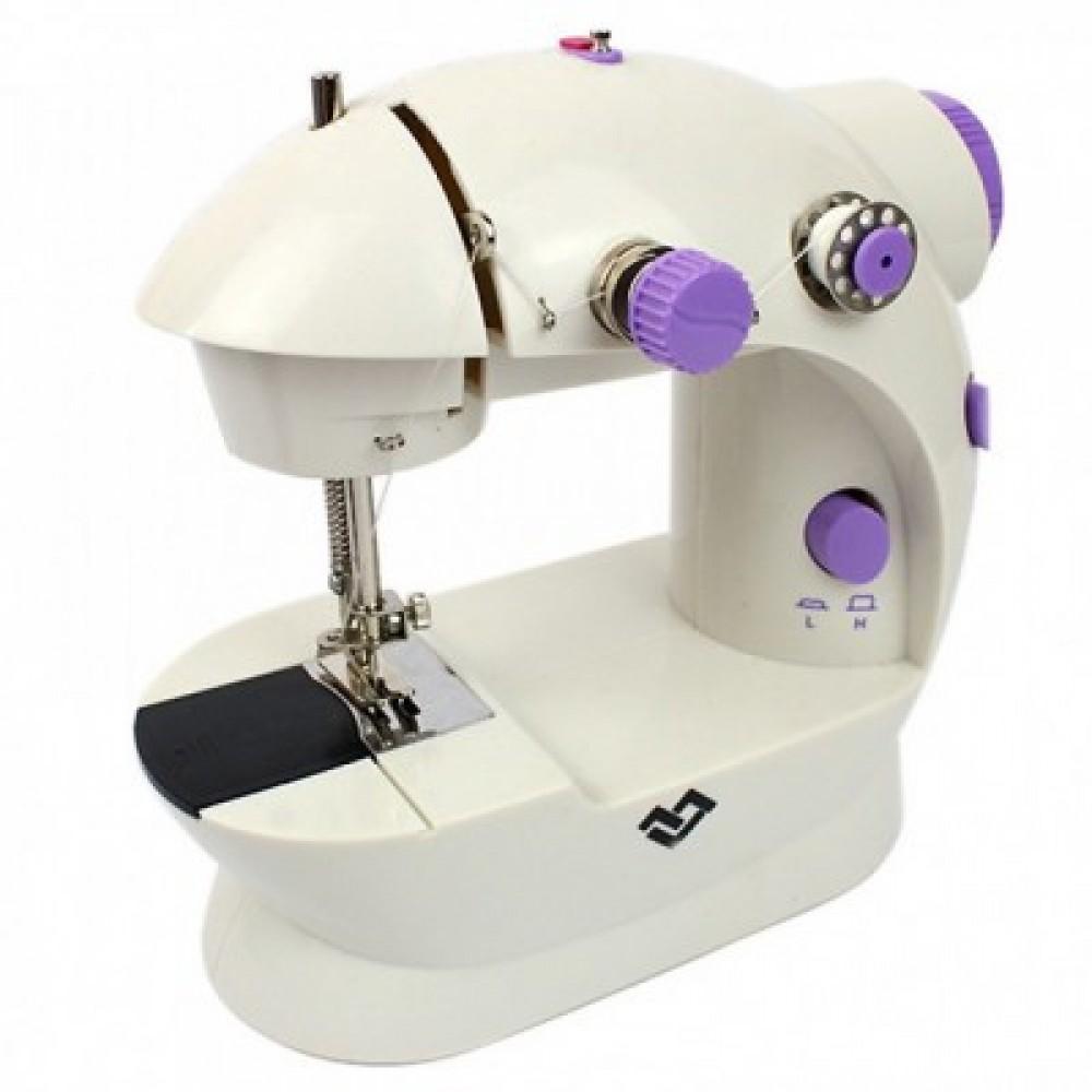 Швейная мини машинка портативная Mini Sewing Machine FHSM-202 с адаптером и педалью