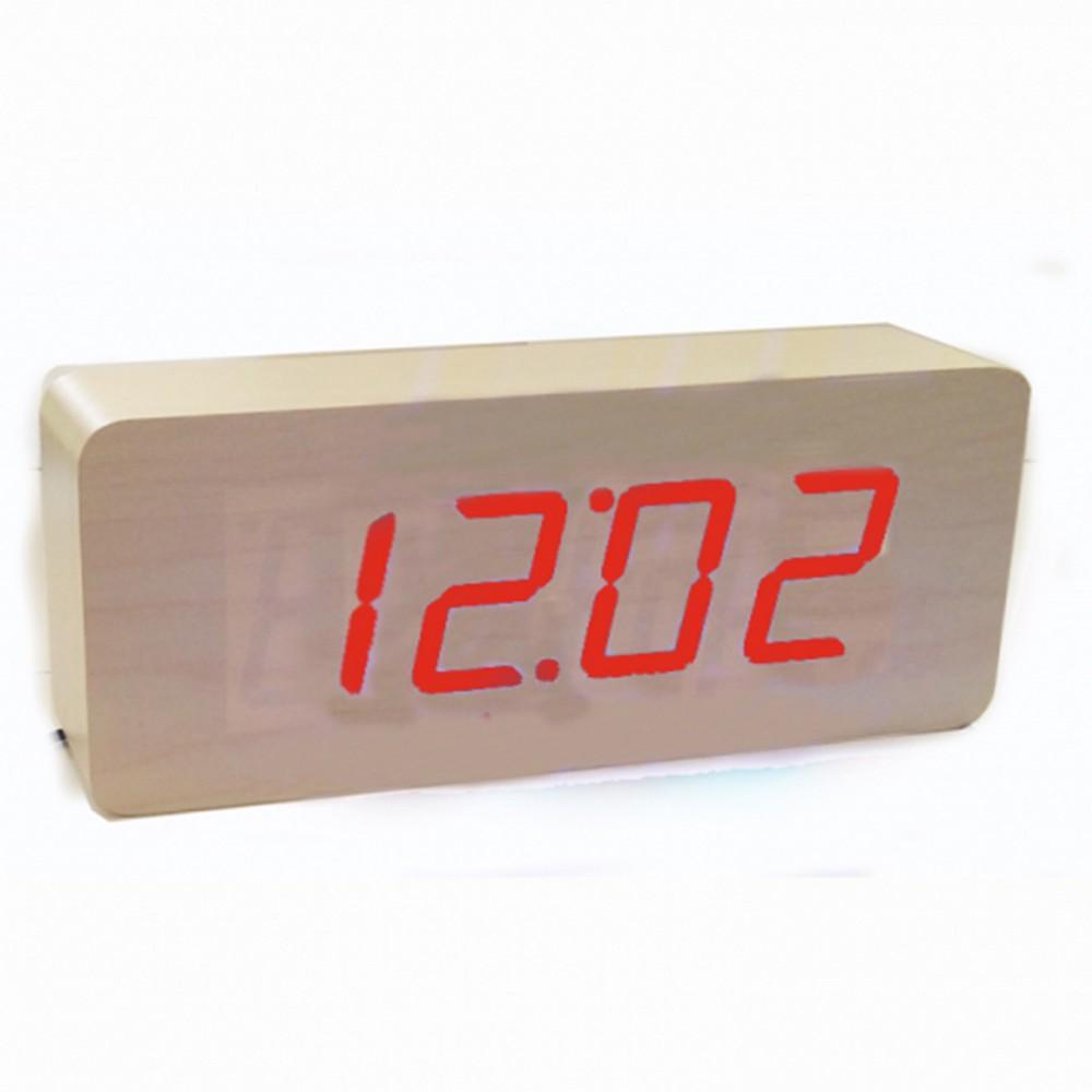 Настольные часы Led Woden Clock (VST-865-1) Бежевые с красной подсветкой