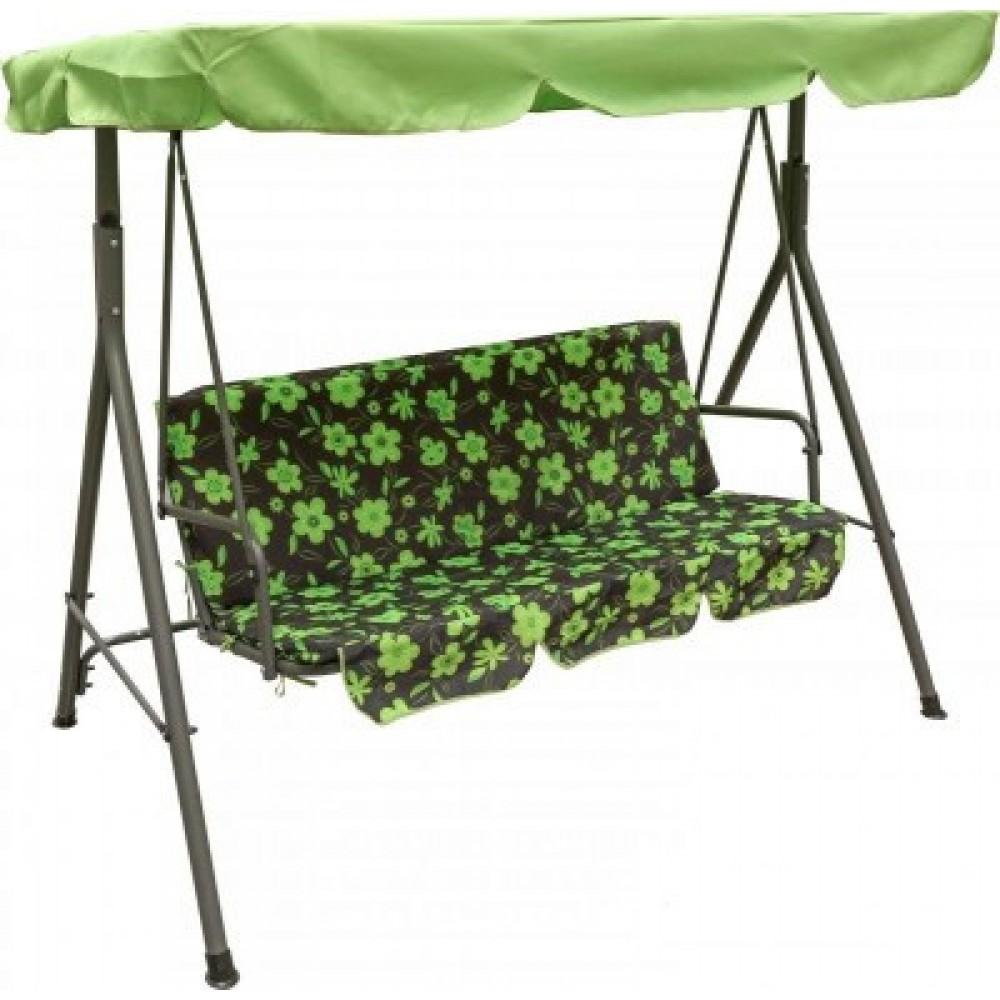 Качеля садовая Bonro B-703 A Цветы + зеленый козырек