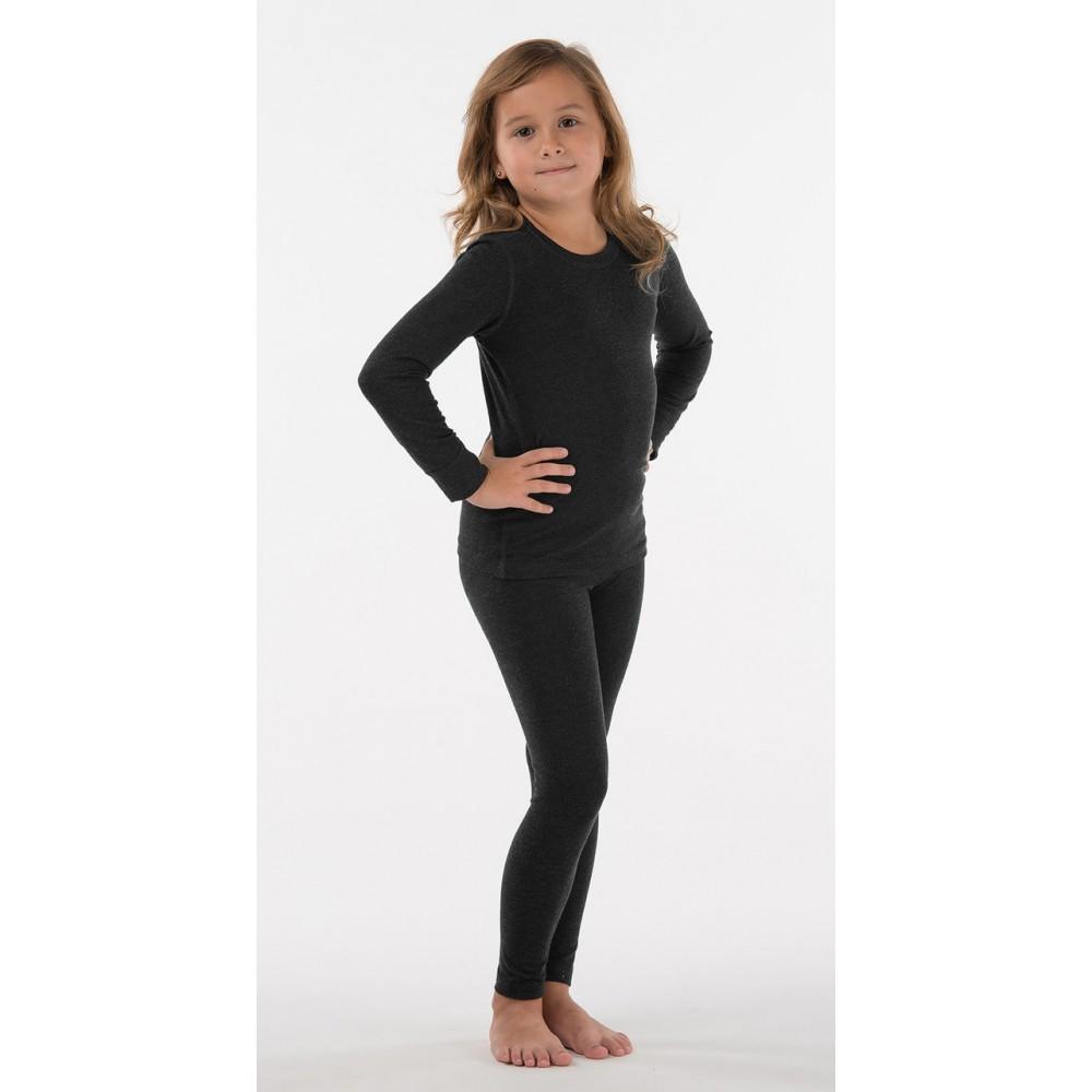 Комплект детского термобелья для девочки цвет черный, шерстяное